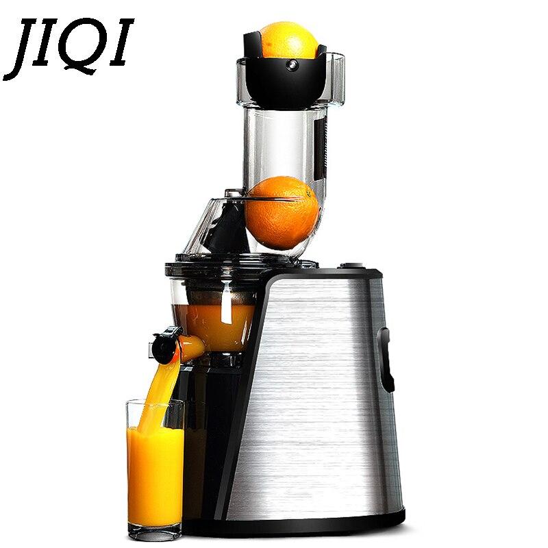 JIQI Slow Juicer Fruit Milk Shake Maker Household Electric Food Processor Juice Extractor Stainless Steel Body Fruit Squeezer