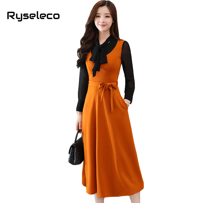 Ryseleco Women Spring Fashion Elegant Slim Hit Color Patches Bow Tie Long Sleeve Casual Flare Midi