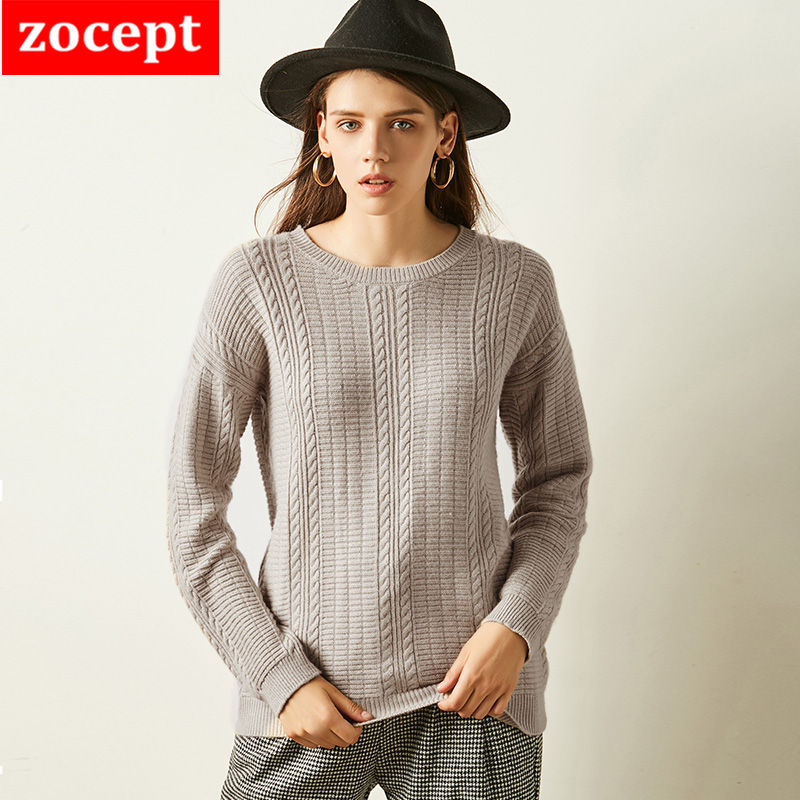 2018 High Quality Cashmere Sweater Women Autumn Winter Round Neck Knit Twisted Full Sleeve Knitted Cashmere