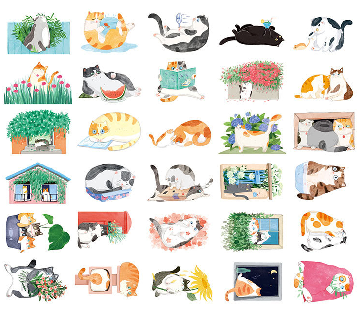 AEMX13-cat in the backyard paper postcard(1lot=5pieces)