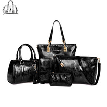 6 PCS/Set Women Handbag Crocodile Pattern Composite Bag Stone Women Messenger Bags Shoulder bag Purse Wallet PU Leather Handbags