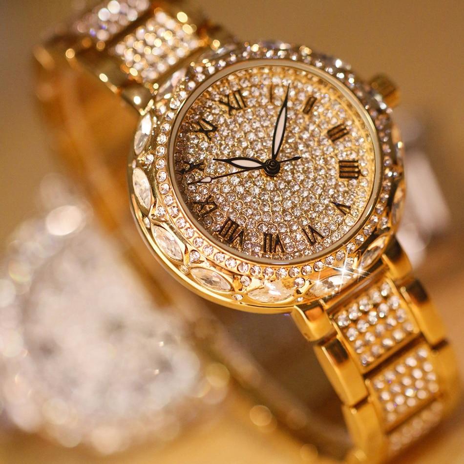 Fashion Luxury Brand Kvinnor Klockor Diamond Fashion Full Rhinestone Klocka Casual Stål Klocka Kvinnor Quartz Ladies Armbandsur