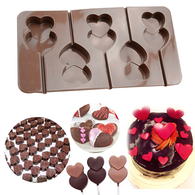 Image result for Double Heart Shape Silicone Candy Lollipop Mold