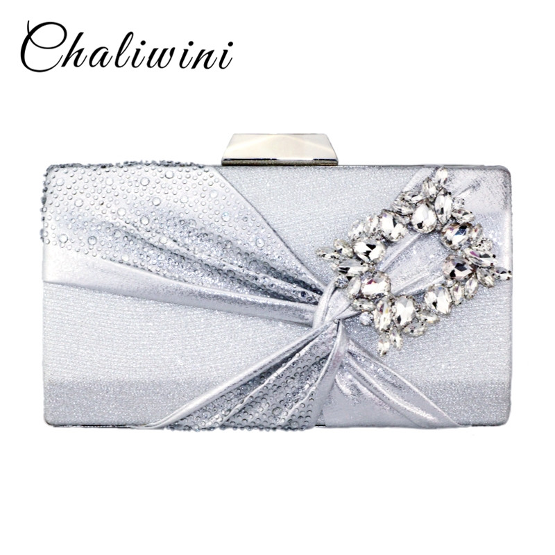 Chaliwini New Arrival Women Small Square Package With Blue Gem Stone And Diamend Floral Pattern Lady Purse Day Clutches Bag