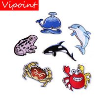 embroidery sea animal patches for jackets,fish badges for jeans,crab appliques,patch A428 embroidery round birds patches for jackets fish badges for jeans appliques a133