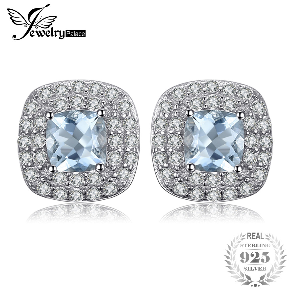 JewelryPalace Cushion Cut 0.9ct Natural Aquamarine Halo Stud Earrings 925 Sterling Silver Earrings For Women Fine Jewelry stylish silver plated cut out rhinestone heart earrings for women