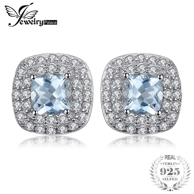 JewelryPalace Cushion Cut 0.9ct Natural Aquamarine Halo Stud Earrings 925 Sterli