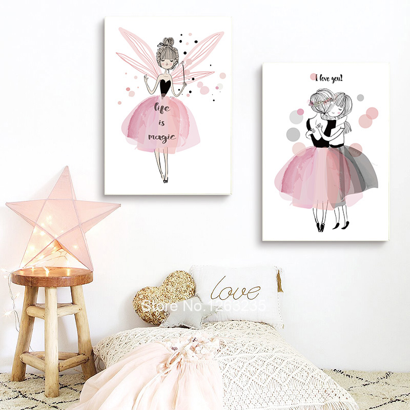 Pink Fairies Girls Room Affiche Nordic Style Kids Decoration Cartoon Cuadros Cute Baby Picture Wall Art Canvas Painting Unframed