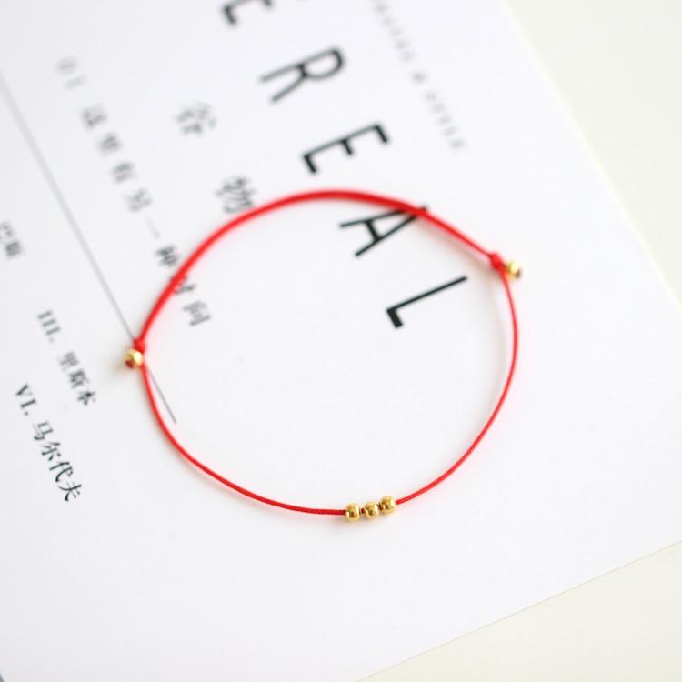 Miage Handmade Girl Women Lucky Knot Metal Gold Bead Bracelet Fashion Charm Adjustable Rope Chain Bracelet Jewelry Accessories men beaded bracelet red