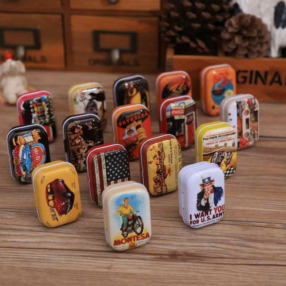 Retro Storage Box Decoration Collection Display Candy Pill Chutty Mini Storage Metal Vintage Cartoon Tin Box Color Random