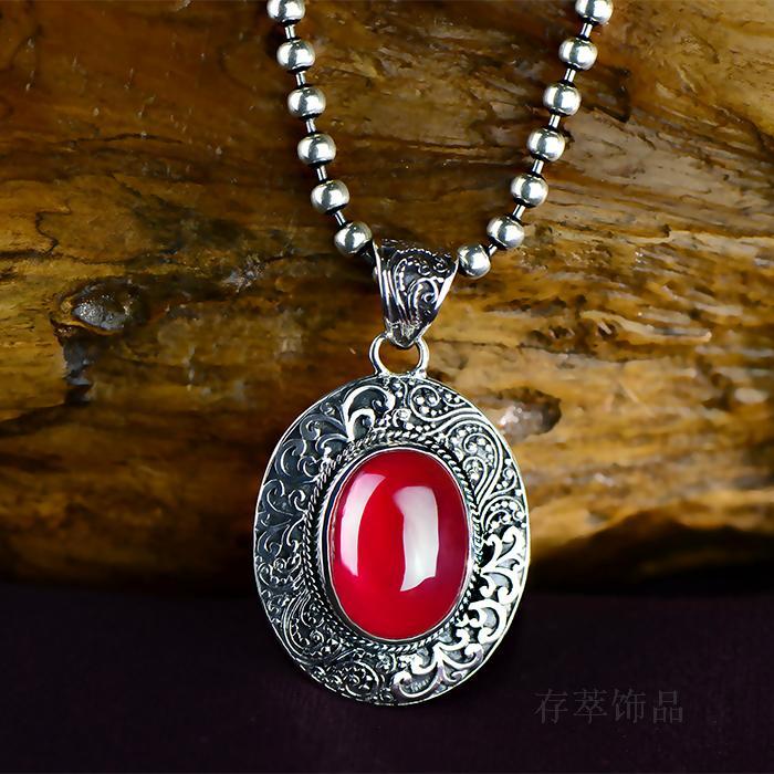 Silver Pendant pendant Thai silver inlaid red corundum retro antique old oval egg shape classical female all-match