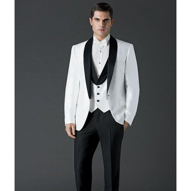 Stylish men\'s suits set Custom Black Lapel Groom Tuxedos One ...