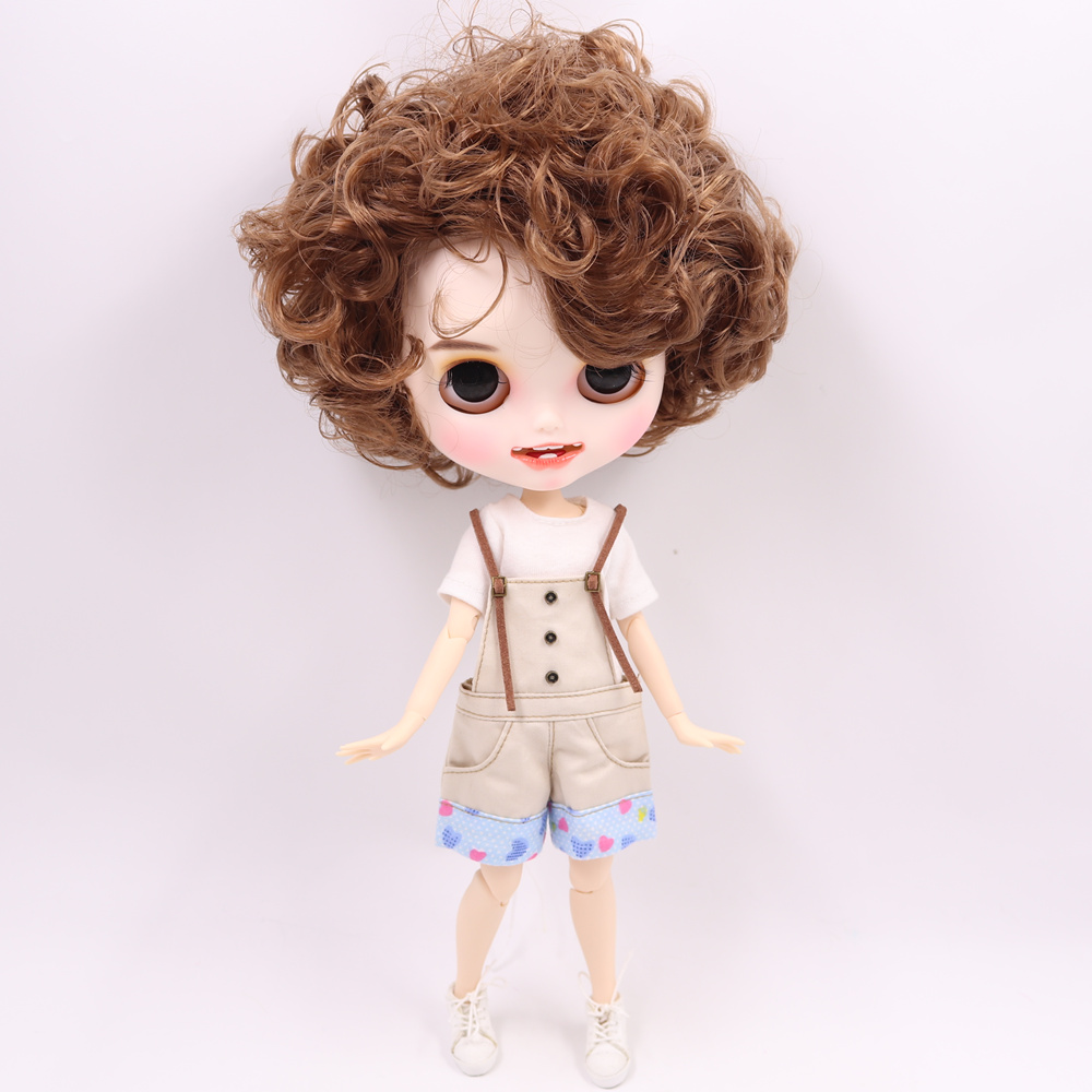 ICY Nude Blyth Doll For Series No BL9158 Brown hair Open Mouth with teeth Carved lips