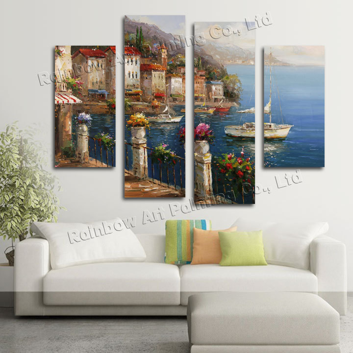 4 Piece Wall Art Handmade Palette Knifet Sea Landscape Oil Painting Wall Pictures For Living Room