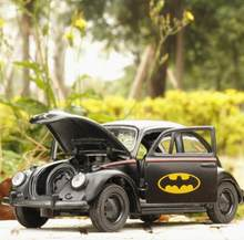 Hot 1:36 scale dc super hero batman diecast car pull back alloy toys vw Beetle metal model batmobile brick toy with light sound(China)