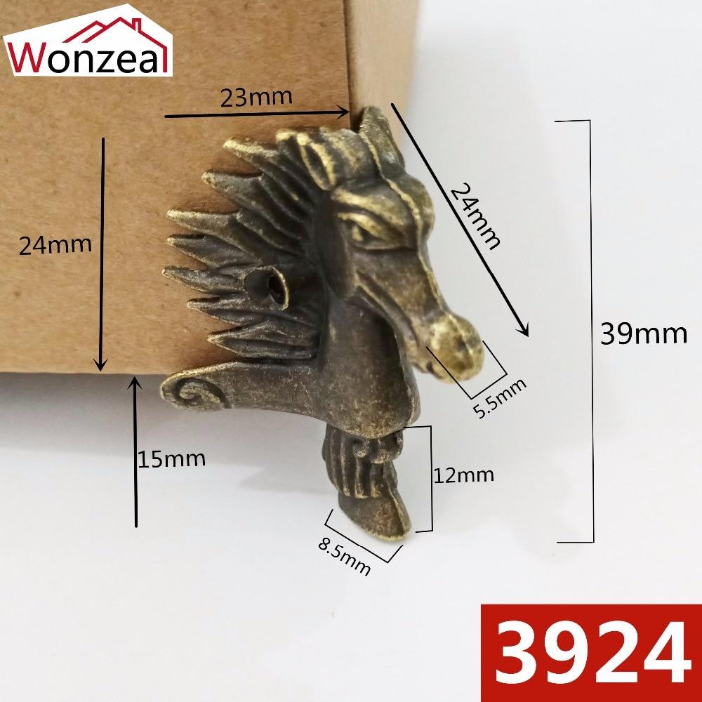 4pcs/Lot 39x24mm Horse Head Box Foot Zinc Alloy Antique Bronze Jewelry Box Corner Foot Protector Desk Box Edge Furniture Legs