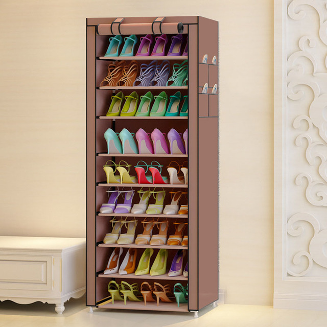 9 Tier Modern Shoe Shelves Oxford Cloth Stool Storage Cabinet Multi Purpose Shoes Rack