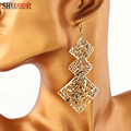 Bohemian Lovely Drop Earrings for Women Handmade Alloy Gold Silver plated Earring Hollow 3 Squares Long Earrings Fashion Jewelry