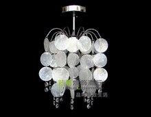 Livraison gratuite en fer forgé blanc naturel super dense shell cristal plafonnier couloir lampe lustre lumière