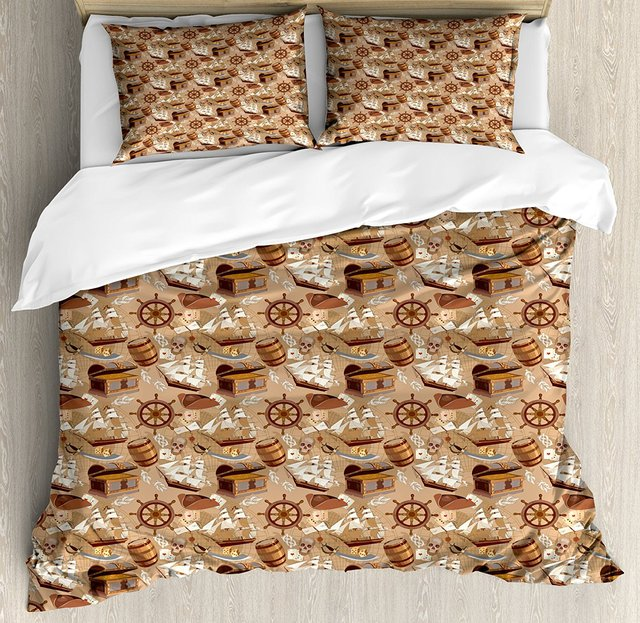 Pirates Duvet Cover Set Ancient Scroll Old Pirate Treasure Map Pattern Adventure Stories Concept Decorative