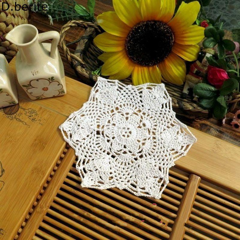 2pcs 22CM Diameter White Flower Blending Yarn Hand Crochet Lace Doilies Placemat Coasters Vase Garden Retro Table Mat KYY8305