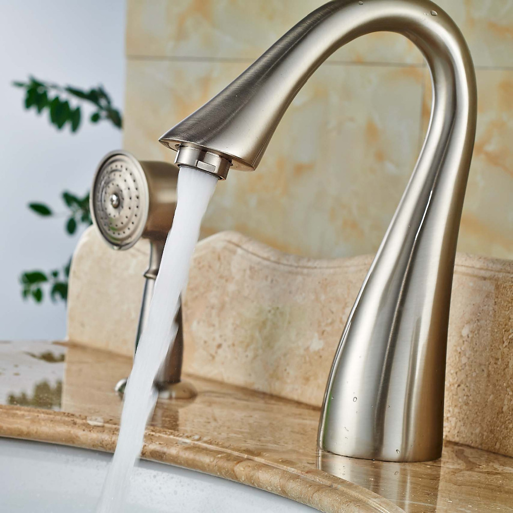 3pcs Single Handle Bathtub Faucet With Handshower Brushed Nickel