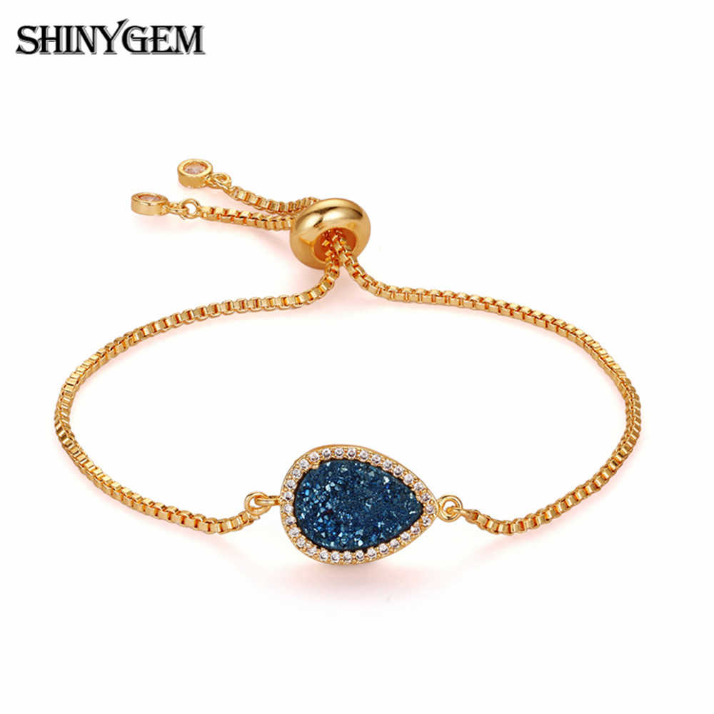 ShinyGem โบฮีเมียน Drop สร้อยข้อมือหินคริสตัลปรับ Link Chain สร้อยข้อมือ Zircon ชุบ Druzy สร้อยข้อมือสำหรับสตรี