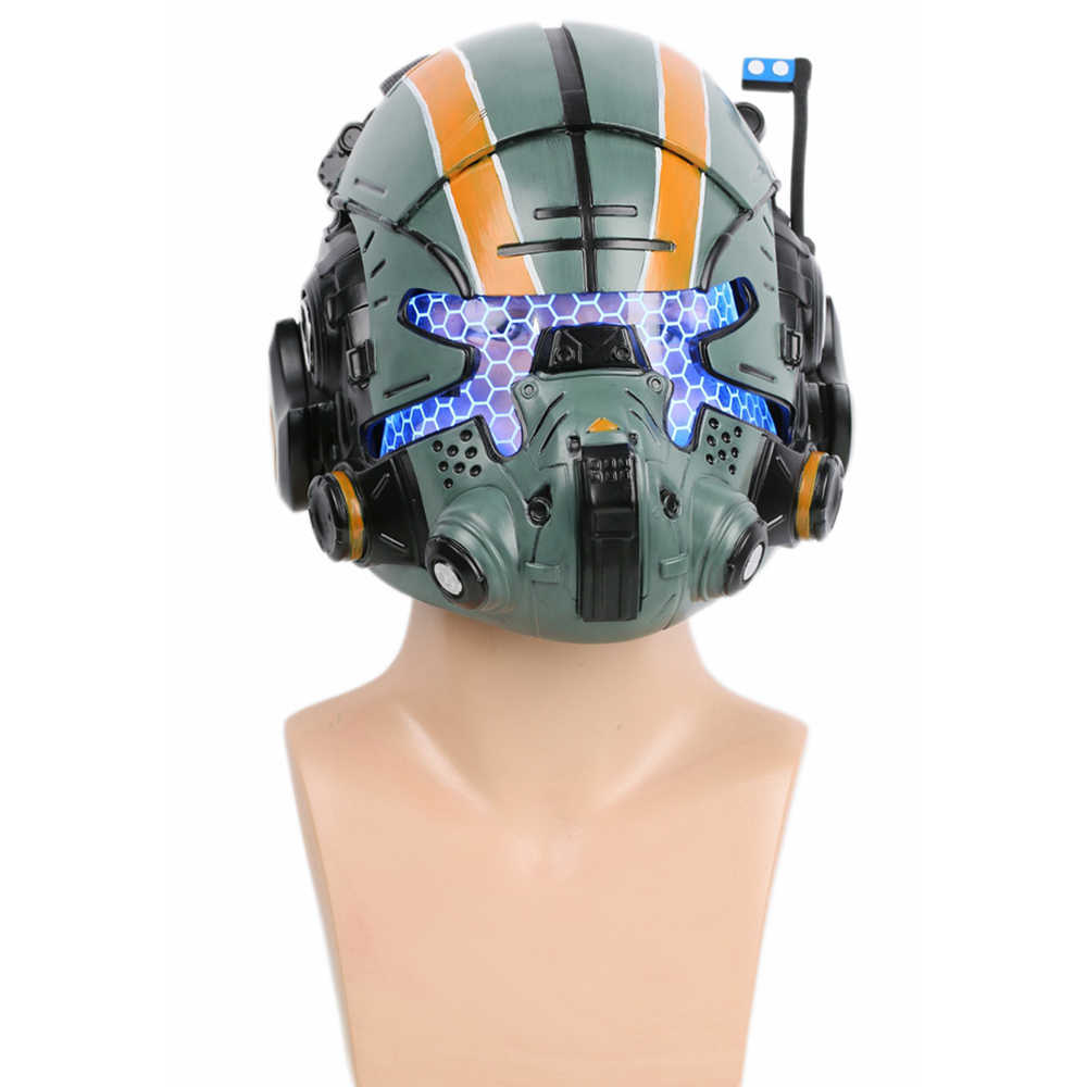 Titanfall 2 Jack Cooper Helm Permainan Alat Peraga Cosplay Resin Penuh Kepala Masker Pria Keren Halloween Partai Cosplay Helm dengan LED cahaya