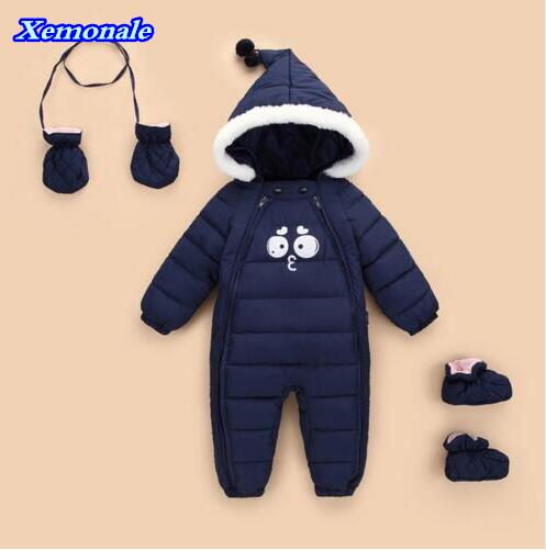 Down Cotton Baby Rompers Winter Thick Boys Girls Warm Infant Snowsuit Kid Jumpsuit Children Outerwear Wear 0-18m newborn clothes autumn winter baby clothes cartoon cotton thick warm infant jumpsuit clothing baby boys girls rompers overalls good quality