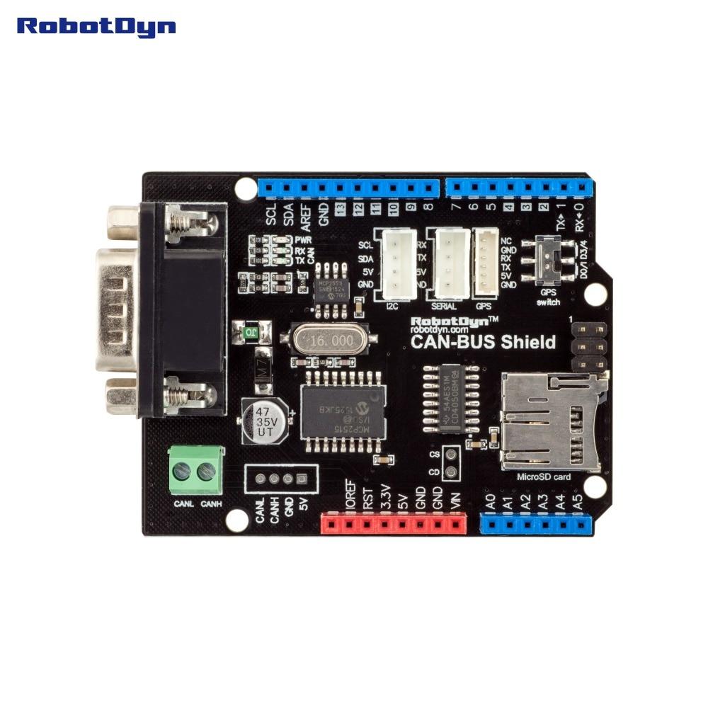 Image 3 - יכול אוטובוס מגן. תואם עבור Arduino. MCP2515 (יכול בקר) ו MCP2551 (יכול משדר). GPS להתחבר. MicroSD כרטיס קורא.shield for arduinoshield arduinoshield gps -