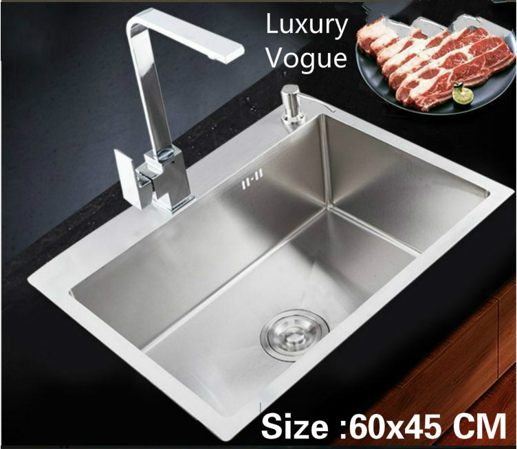 Free shipping Apartment luxury kitchen manual sink single trough high quality food-grade stainless steel hot sell 60x45 CM Free shipping Apartment luxury kitchen manual sink single trough high quality food-grade stainless steel hot sell 60x45 CM