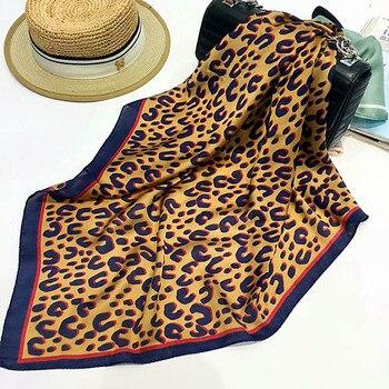 2018 Fashion Women 70X70 CM Square Scarf Silk Feel Satin Leopard Skinny Retro Head Neck Hair Tie Brand Scarves Headband women