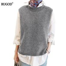 RUGOD жилет Новинка весны Для женщин жилет довольно О-образный воротник, без рукавов кролика волосы вязаный жилет для женщин; Большие размеры 2XL 3XL 4XL Veste Femme одежда для женщин