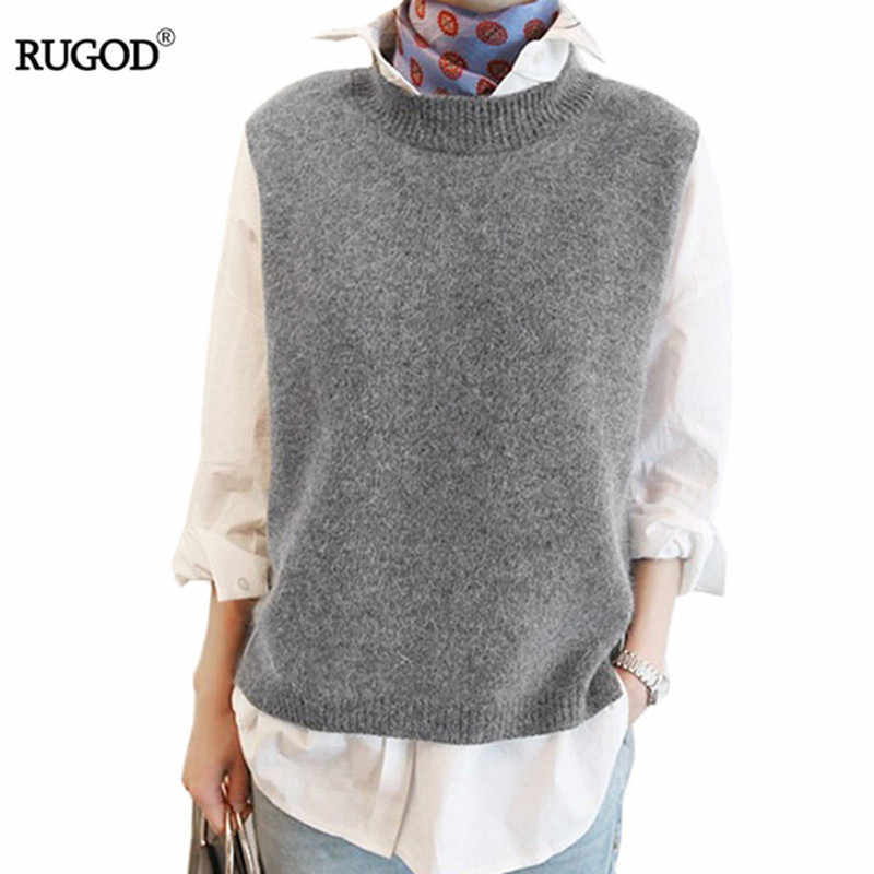 RUGOD Vest 2018 New Spring Women Vest Pretty Sleeveless O-Neck Rabbit Hair Knitted Vest Women Plus Size 2XL 3XL 4XL Veste Femme