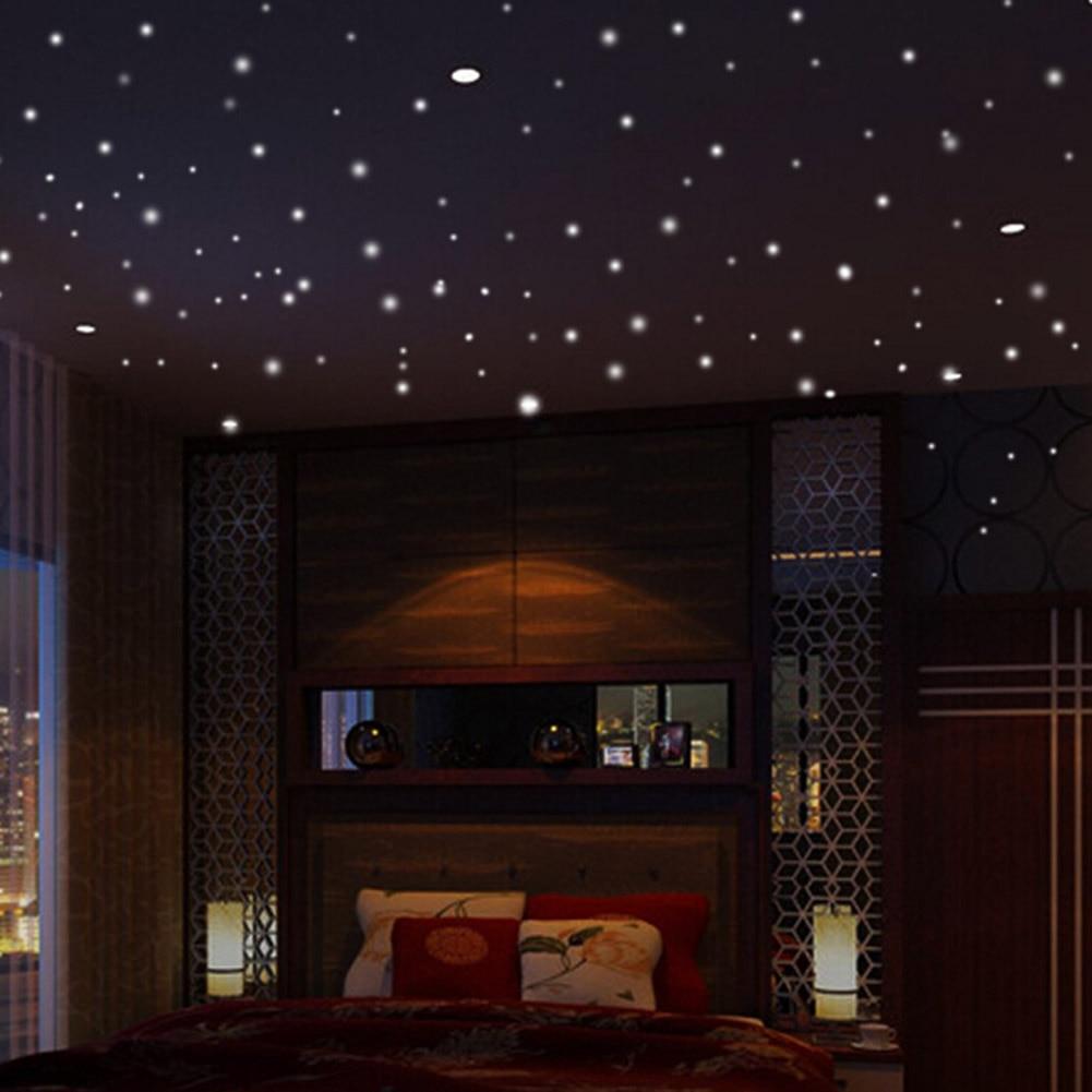 407pcs Luminous Glow Dark Star Round Dot Wall Stickers Home Ceiling Decor