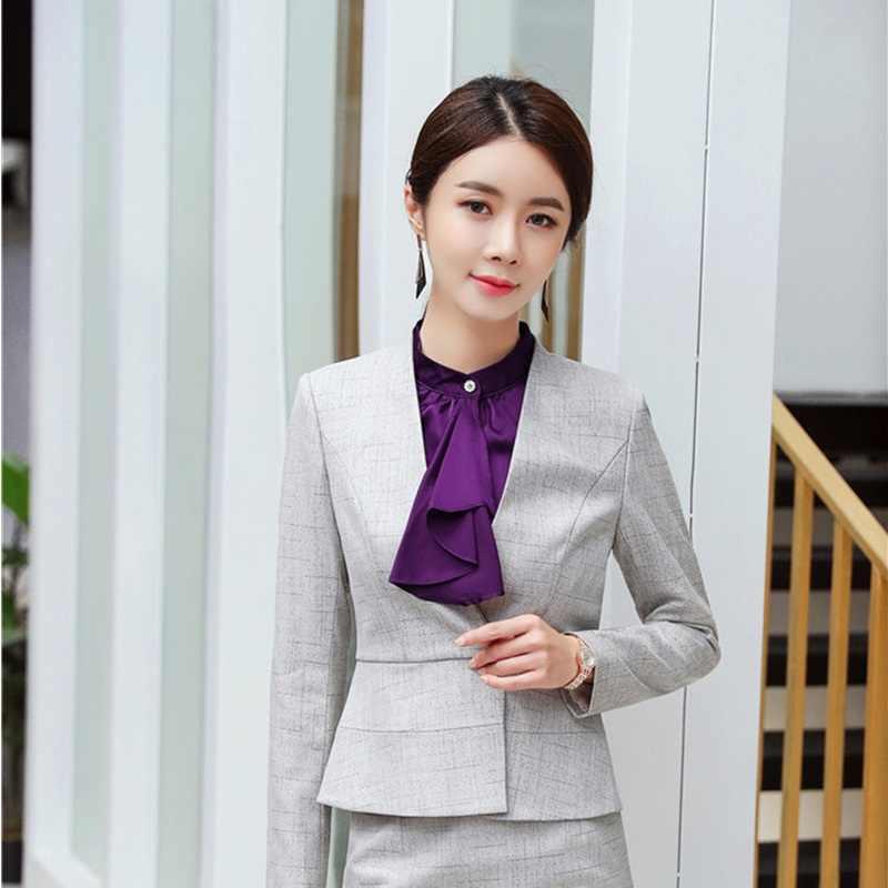 Gaya Baru Formal Blazer dan Jaket Mantel Lengan Panjang Seragam Gaya Perempuan Tops Kantor Wanita Pakaian Kerja Atasan Lebih Tahan Dr Pakaian