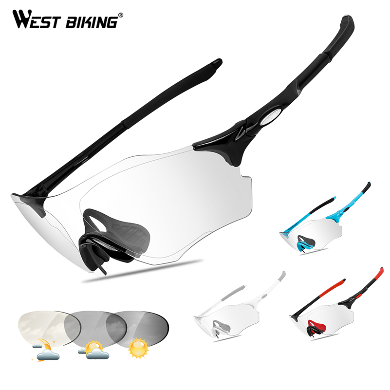 WEST BIKING Photochromic Cycling Glasses Discoloration Sunglasses UV400 Non-slip Fishing Goggles Oculos Ciclismo Bike Eyewear