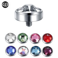 1PC G23 Titanium Micro Dermal Piercing Gem Micro Dermal Anchor Crystal Top Dermal Piercings Surface Piercing 14G Piercing Stud(China)
