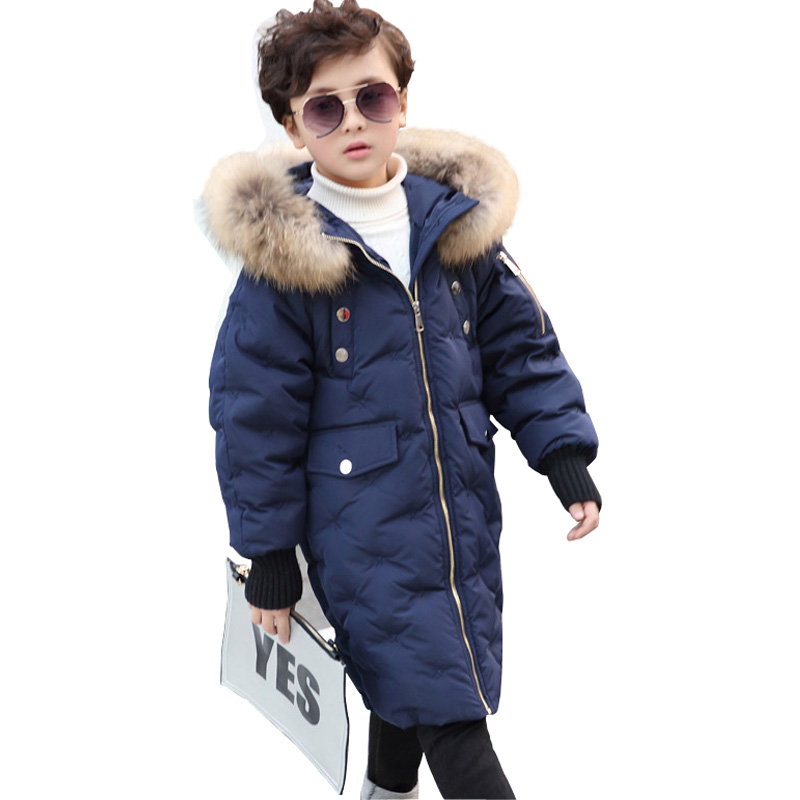 Winter Kids Jacket Boys and Girls White Duck Down Coat with Natural Raccoon Fur Hooded Children Outerwear Coat Warm Parka DQ586 цены онлайн