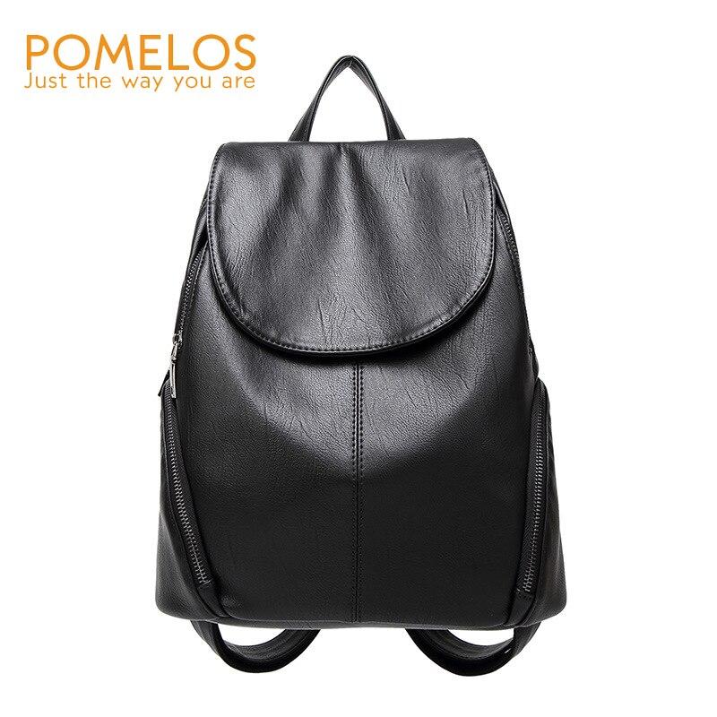 POMELOS Women Preppy Style Backpack Fashion Female Girls Solid Softback Back Pack Purse Rucksack Woman Travel Backpacks