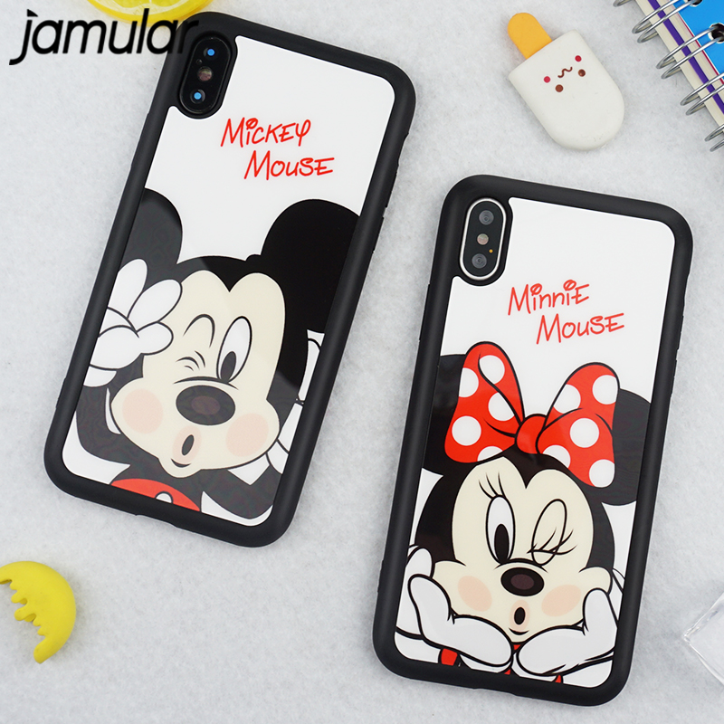JAMULAR For iphone X 7 6 8 Plus 5s SE Silicone Mirror Cases Cartoon Mickey Minnie Mouse Cover For iphone 6 6s 7 8 Soft Coque