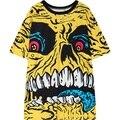 Womens HARAJUKU camiseta 2016 verano nueva calle cráneo de la corto señoras de la mujer de gran tamaño tee top de manga camiseta punk rock T camisa