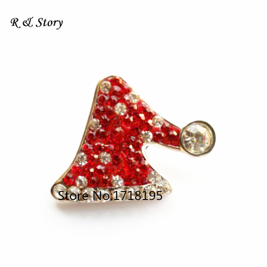 Clear Rhinestone Christmas hat snap button metal snap jewelry for bracelet SB_1068