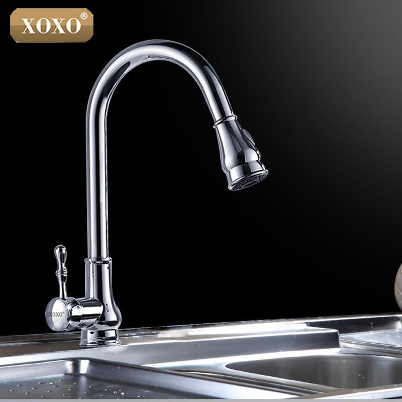 XOXO New 360 rotating Kitchen Faucet Mixer Tap black /brushed nickel/chrome single hand kitchen tap mixer brass 83014H niko 50pcs chrome single coil pickup screws