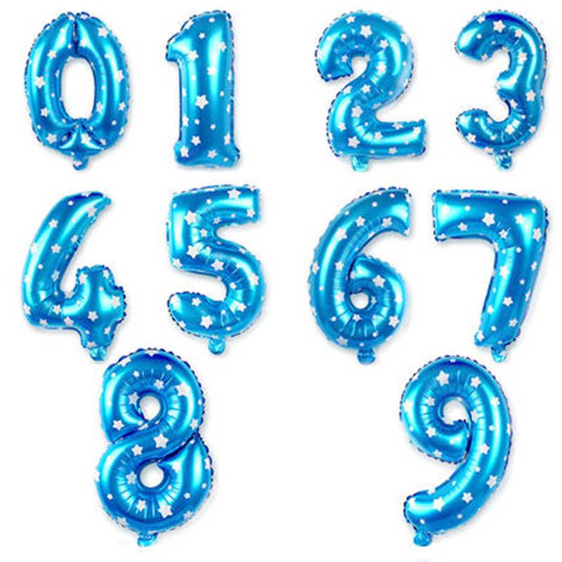 32 Inch Berwarna Merah Muda Biru Nomor Foil Balon Digit Helium Balon Ulang Tahun Pesta Dekorasi Air Baloons Globos Cumpleanos Infantiles