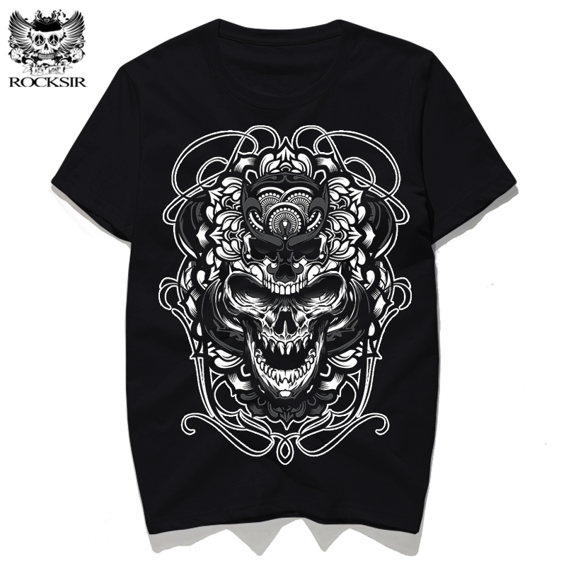 Rocksir 3d print skull designs creative t shirt men 39 s for White t shirt outfit mens