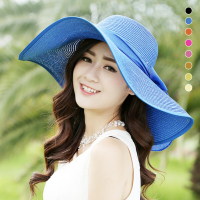 Large Size Sun Hats Summer Beach Fashion Woman Hats Sun Hats Sunscreen UV Blocking Big Straw