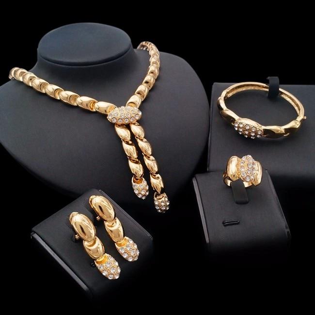 Warna emas kalung anting gelang cincin set perhiasan emas ...