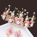 Romantic Hair Vine Wedding Leaf Pearl Hair Accessories Luxury Flower Crystal Bridal Crown Pink Rhinestone Tiaras For Bride