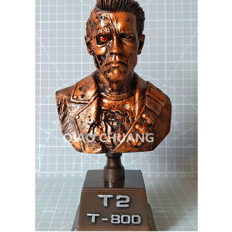 Terminator Statue T2 Arnold Schwarzenegger Bust T800 1:6 Half-Length Photo War Damage Lmitation Copper Collectible Model Toy W24 new 1333cm pvc american film terminator t 800 arnold schwarzenegger doll action figure adult model toy